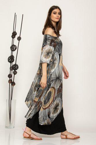 Κ19-64519 Μαύρο Φόρεμα διπλό μουσελίνα εμπριμέ