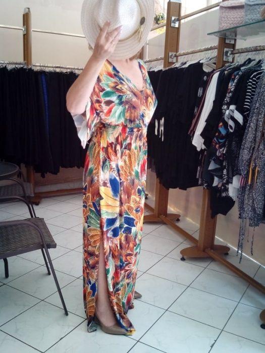 Κ19-65019 Εκαι Φόρεμα maxi εμπριμέ μαγιόπανο με λάστιχο στη μέση