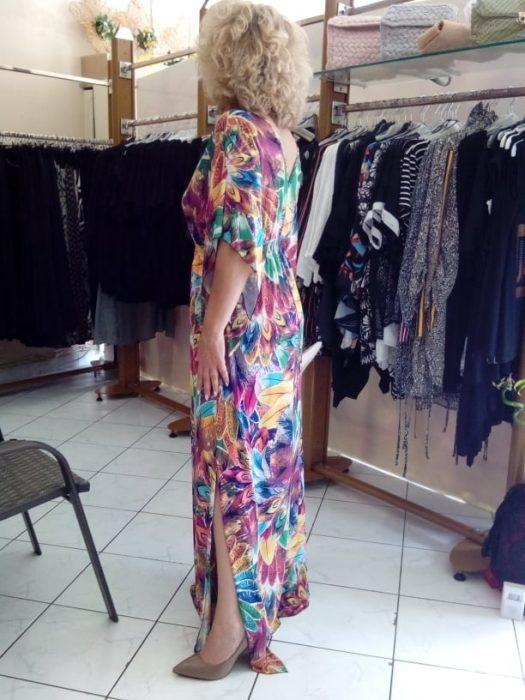 Κ19-65019 AQUA Φόρεμα maxi εμπριμέ μαγιόπανο με λάστιχο στη μέση