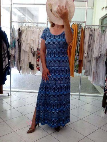 Κ19-65619 Ρουα Φόρεμα maxi εμπριμέ με μανίκια