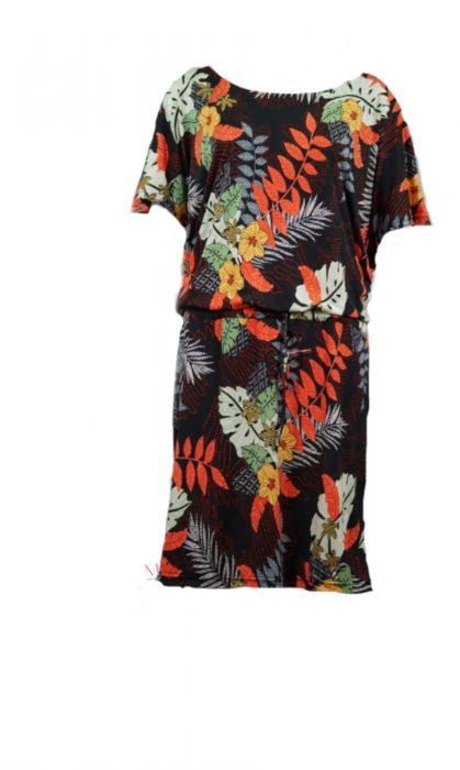 Κ19-20218 Μαύρο Φόρεμα midi floral μαγιόπανο
