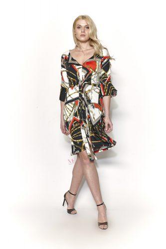 19-20736 Κόκκινο Φόρεμα midi ζέρσεϊ με chain pattern, V-λαιμόκοψη