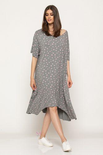 Κ19-63319 Φόρεμα -Τουνίκ midi πουά