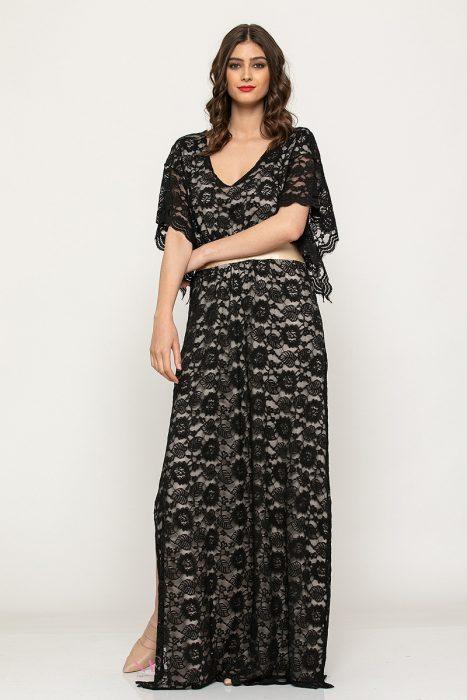 """Κ19-64719 Μαύρο Φόρεμα ελαστική δαντέλα maxi """"κιπούρ''"""