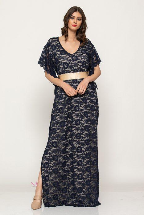 """Κ19-64719 Φόρεμα ελαστική δαντέλα maxi """"κιπούρ''"""
