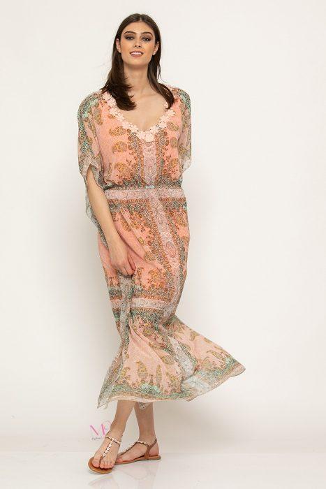 Κ19-64919 Φόρεμα – καφτάνι maxi εμπριμέ