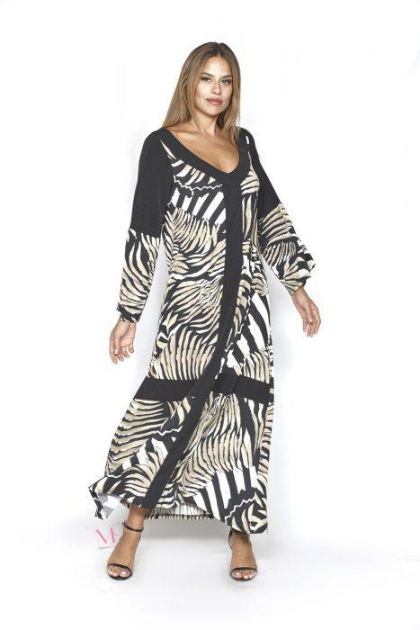 20-20245 Φόρεμα εμπριμέ maxi s.jersey σε άλφα γραμμή