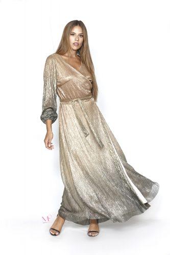 20-20748 Καφέ Φόρεμα σε ντεγκραντέ λούρεξ με κρουαζέ μπούστο