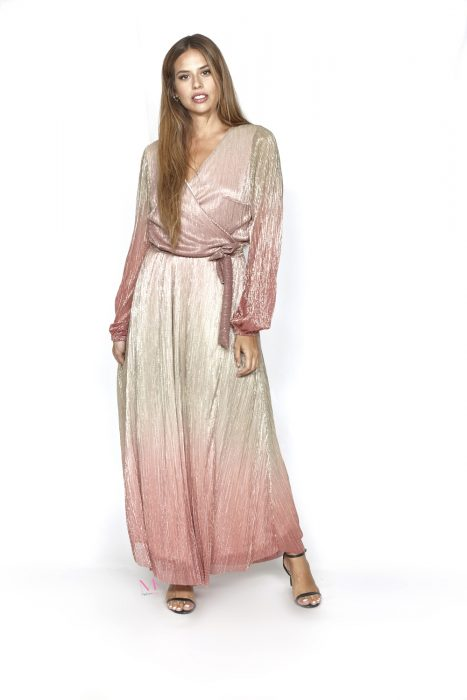 20-20748 Ροζ Φόρεμα σε ντεγκραντέ λούρεξ με κρουαζέ μπούστο