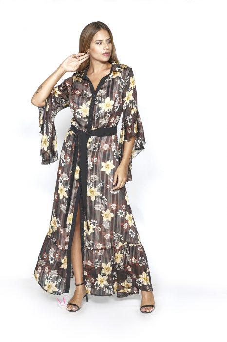 20-20749 Καφέ Σεμιζιέ maxi φόρεμα ζορζέτα με καμπάνα μανίκια