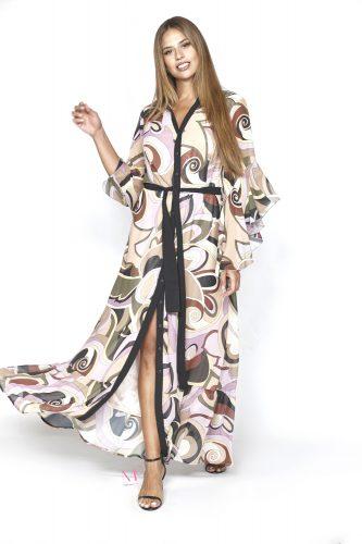 20-20749 Μωβ Σεμιζιέ εμπριμέ maxi Indigo φόρεμα ζορζέτα με καμπάνα μανίκια