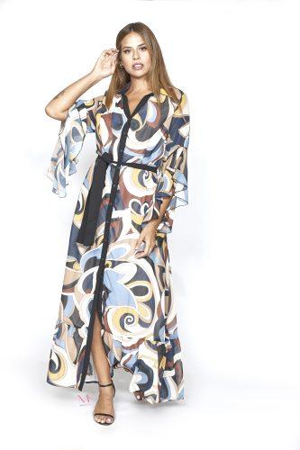 20-20749 Indigo Σεμιζιέ εμπριμέ maxi φόρεμα ζορζέτα με καμπάνα μανίκια