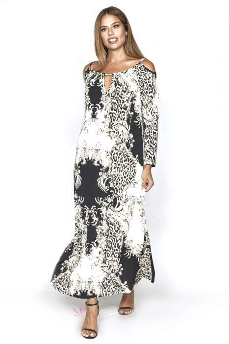 20-20753 Τύπος Φόρεμα σε moss jersey με στρογγυλή λαιμόκοψη
