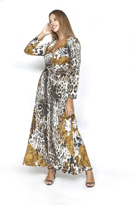 20-20755 Ώχρα Φόρεμα maxi s.jersey με V-λαιμόκοψη