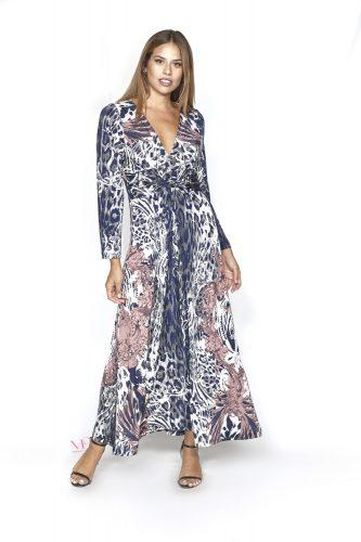 20-20755 Φόρεμα maxi s.jersey με V-λαιμόκοψη