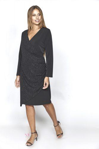 20-20759 Φόρεμα midi κρουαζέ ζορζέτα / λούρεξ