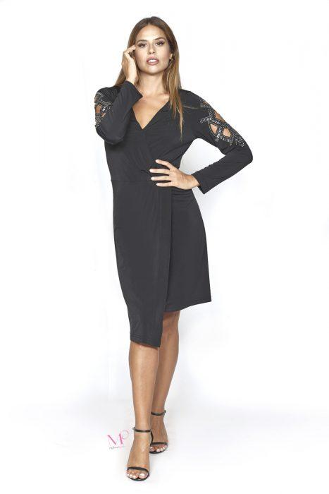 20-20760 Φόρεμα ασύμμετρο midi s.jersey με κρουαζέ μπούστο