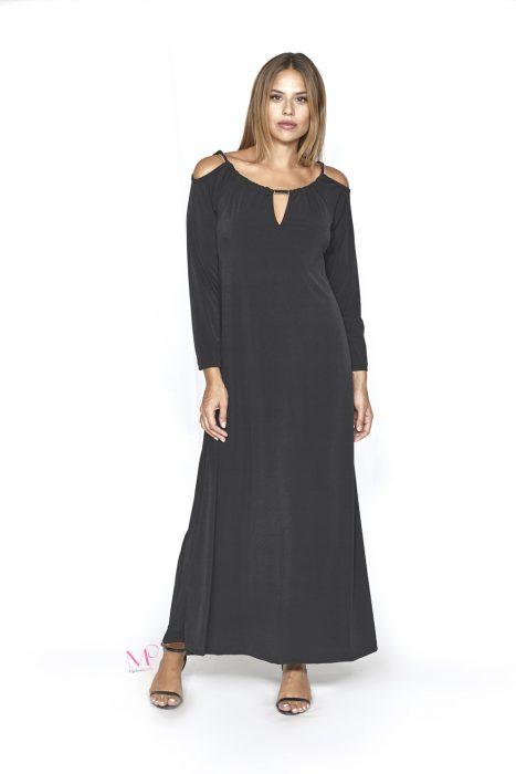 20-20762 Φόρεμα maxi ελαστικό crep με στρογγυλή λαιμόκοψη
