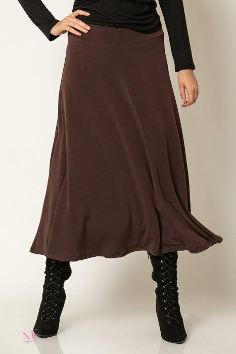 20-30020 Φούστα μονόχρωμη super jersey με φύλλα καφέ
