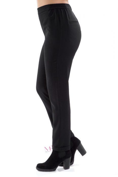 20-80160 Παντελόνι Μαύρο TR σε ίσια γραμμή με γυριστό ρεβέρ