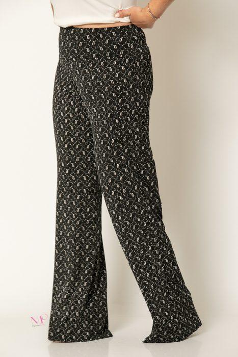 20-80620 Μαύρο Παντελόνα με μπάσκα εμπριμέ