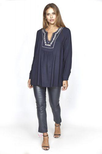 20-17320 Μπλε Μπλούζα σε voile cotton ύφασμα με V-λαιμόκοψη