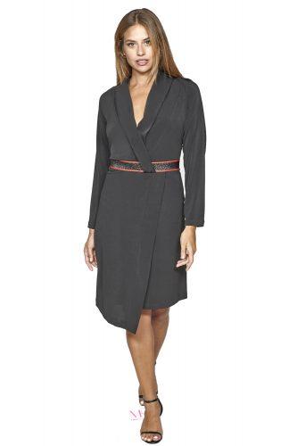 20-20757 Φόρεμα κρουαζέ midi με διακοσμητική λούρεξ ζώνη.