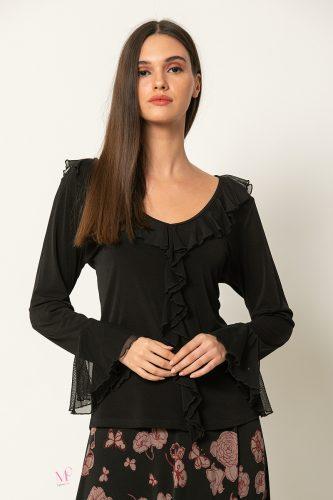 20-90420 Μαύρο Μπλούζα αμπιγέ με βολάν