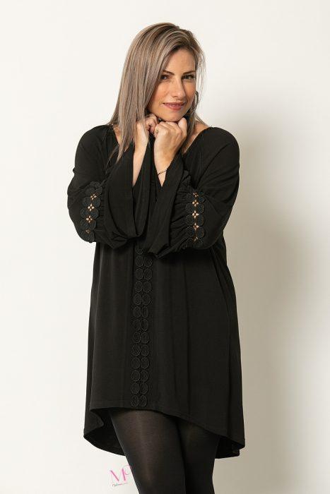 20-90520 Μπλουζοφόρεμα Μαύρο μακρύ με μοτίφ