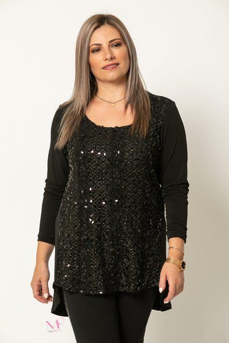 20-91420 Μαύρο Μπλούζα αμπιγέ με λούρεξ εμπρός