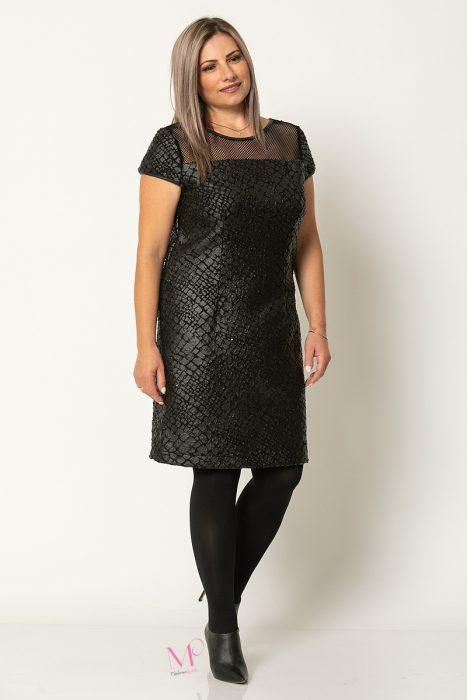 20-60220 Φόρεμα Μαύρο office midi μπουκλέ με δερματίνη