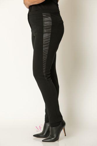 20-80120 Μαύρο Παντελόνι με δερματίνες στο πλάι