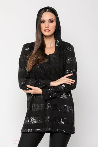 20-90220 Μπλούζα Μαύρη από ελαφρύ πλεκτό με παγιέτες