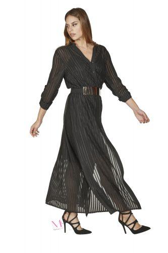 20-20767 Φόρεμα chemise άλφα γραμμή σε ζορζέτα με σατέν ρίγα.