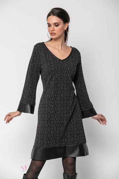 20-60820 Φόρεμα με γεωμετρικά σχέδια πλεκτό και δερματίνες