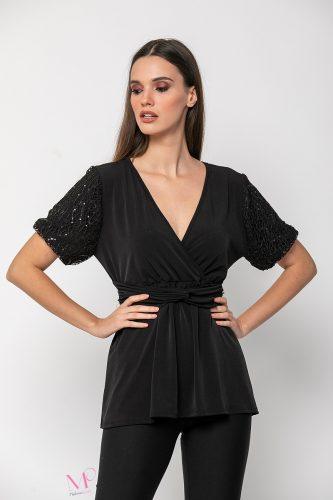 20-98820 Μπλούζα Κρουαζέ Αμπιγέ μαύρο με δίχτυ