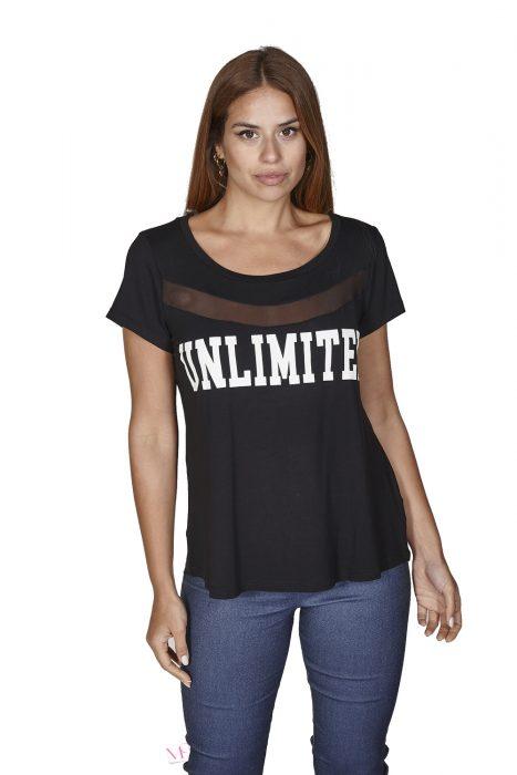 """Κ20-17446 Μπλούζα Βισκόζη με στάμπα """"UNLIMITED"""""""