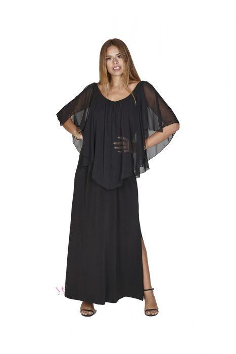 Κ20-20313 Maxi φόρεμα από super jersey σε άλφα γραμμή με κομποζέ μουσελίνα