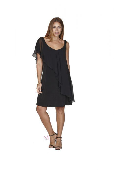 Κ20-20797 Μαύρο Midi φόρεμα από super jersey