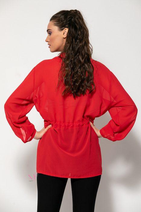 Κ20-40320 Ζακέτα κρεπ με τσέπες & φερμουάρ κόκκινο