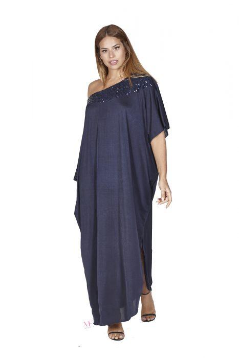 Κ20-50513 Maxi φόρεμα/τουνίκ σε φαρδιά γραμμή από bijoux jersey με off shoulder λαιμόκοψη