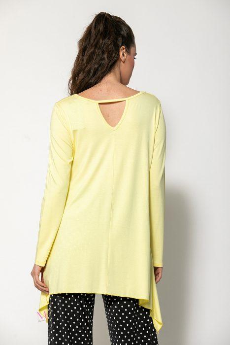 Κ20-90420 Μπλούζα από βισκόζ ελαστικό,με μύτες κίτρινο