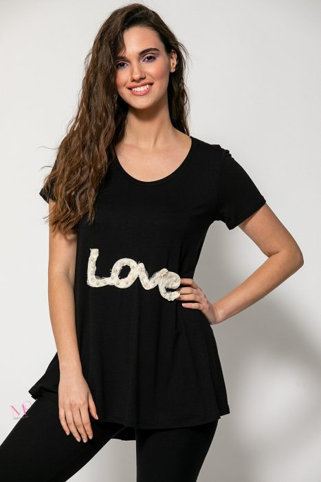 """Κ20-93420 Μπλούζα βισκόζ με μοτίφ """"Love"""" μαύρο"""