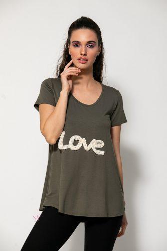 """Κ20-93420 Μπλούζα βισκόζ με μοτίφ """"Love"""" χακί"""
