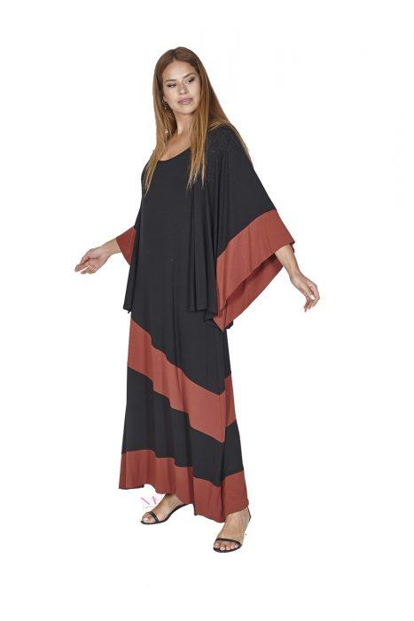 Κ20-20267 Φόρεμα maxi με φαρδιά τιράντα σε άλφα γραμμή