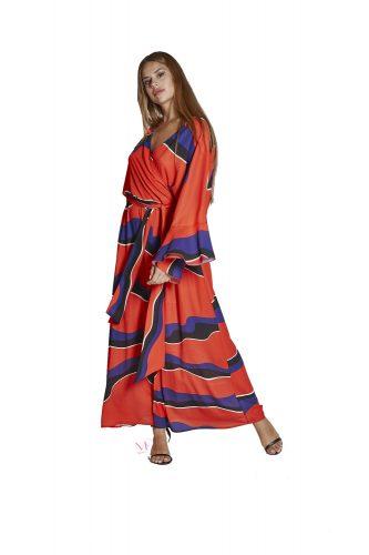 Κ20-20788 Φόρεμα maxi από zorzette με κρουαζέ V λαιμόκοψη