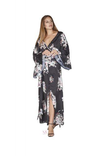 Κ20-20802 Φόρεμα maxi από zorzette με κρουαζέ V λαιμόκοψη